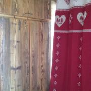 A tasteful mix of old wood and textiles